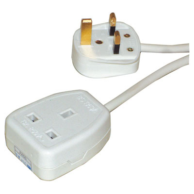 10 mtr White 1 Gang Extension Lead Fitted With UK 5A Plug