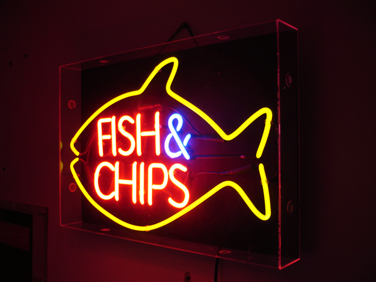 Fish chips neon for Fish neon sign