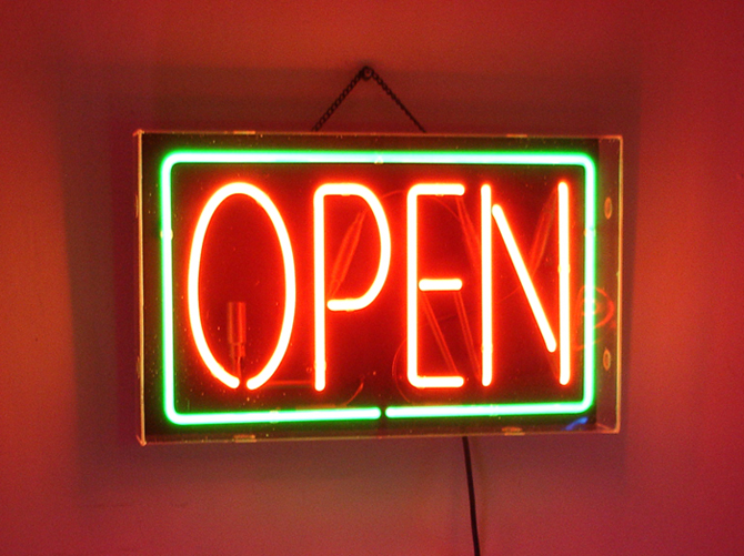 Red Green Neon Open Sign