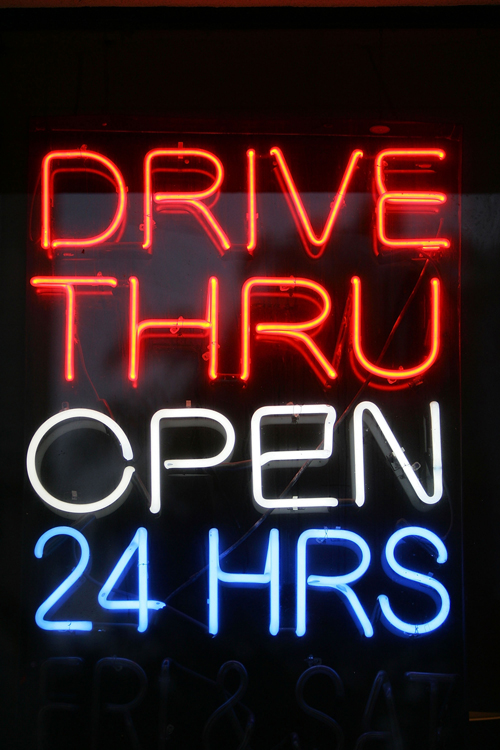 Drive Thru Open 24hrs Neon Sign