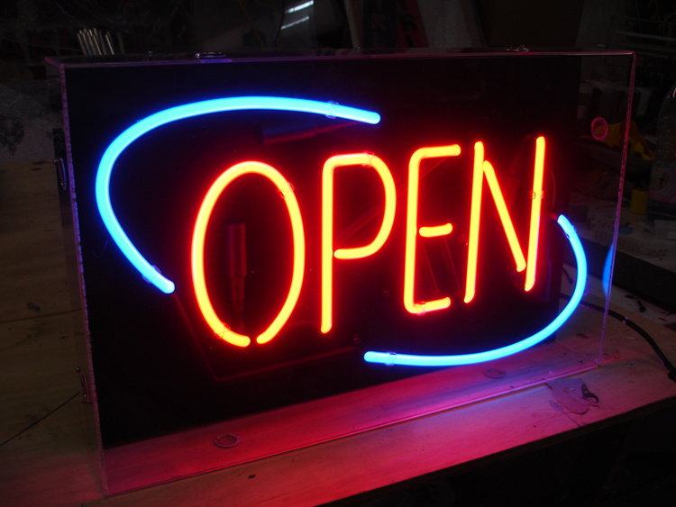 Open Blue Red Neon Sign