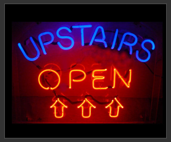 Upstairs Open Neon Sign Neon6